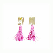 Inox |Pink Tassel Dangle Earrings