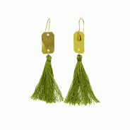 Brass| Green Tassel Dangle Earrings